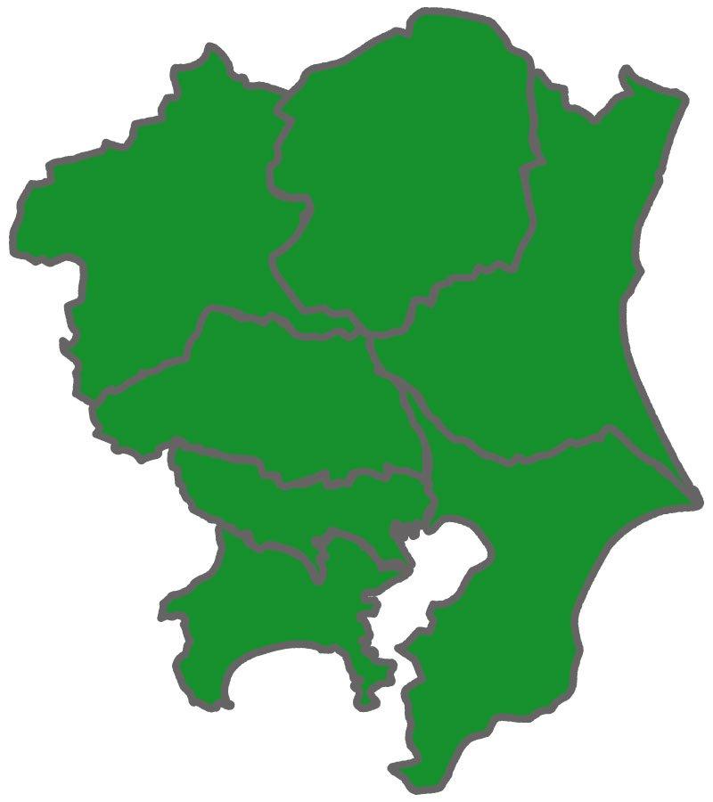 関東地方の地理的画像。