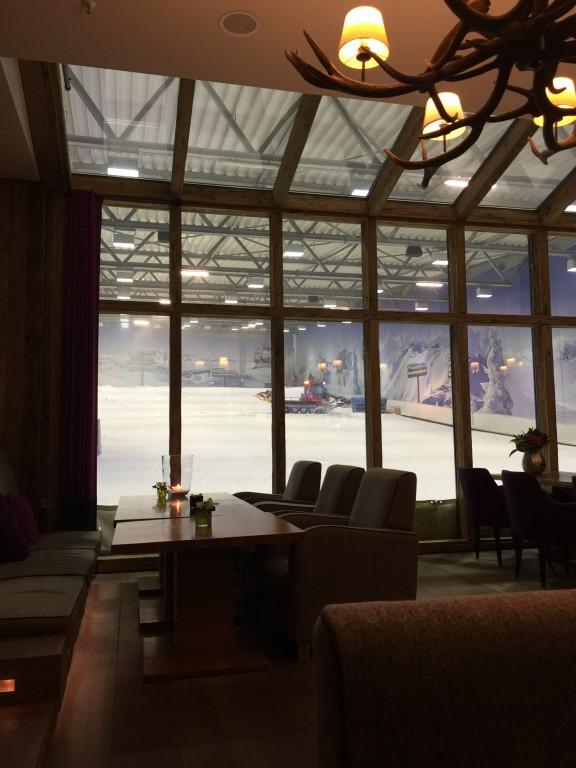Die gemütliche Aussicht aus der Lounge des Fire & Ice Hotels