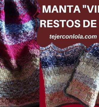 """MANTA """"VINTAGE"""" TEJIDA A DOS AGUJAS CON RESTOS DE LANA!"""