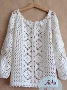 Blusa túnica de ganchillo
