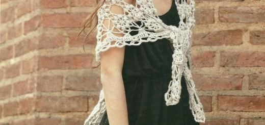 Chal tejido en crochet forma triangular