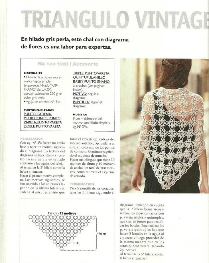 Chal tejido en crochet forma triangular2