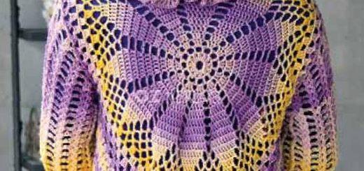 Chaleco crochet redondo con esquema