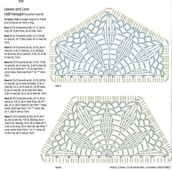 Cubrecamas tejida con motivos en ganchillo2