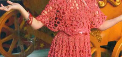 Esquema Traje de niña en crochet con corona