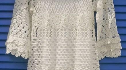 Esquema túnica crochet en blanco