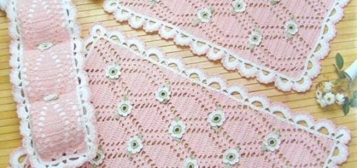 Patrón juego de baños crochet en rosa