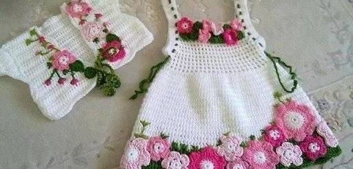 Vestido y bolero en crochet para niñas