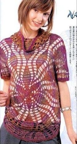 Blusa tipo polera en ganchillo con patrones