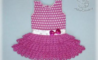 Crochet vestido niña dos colores con patrones