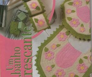 Elegante juego de baño en crochet esquemas