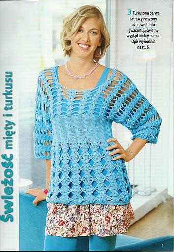 Fácil blusa en ganchillo con esquema