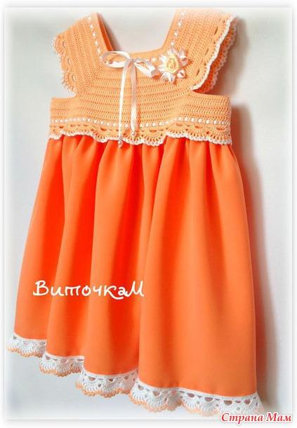 7d94fe468 Ganchillo y tela vestido niña ⋆ Crochet Patrones
