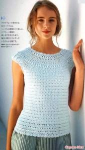 Blusa de crochet canesu redondo