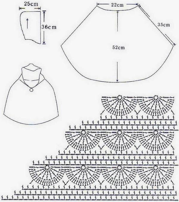 Poncho con capucha de ganchillo ⋆ Crochet Patrones
