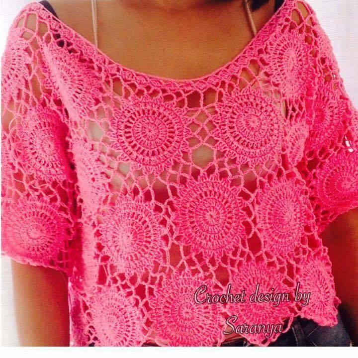 Blusa crochet motivo