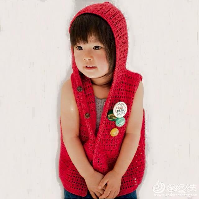 Chaleco crochet con capucha