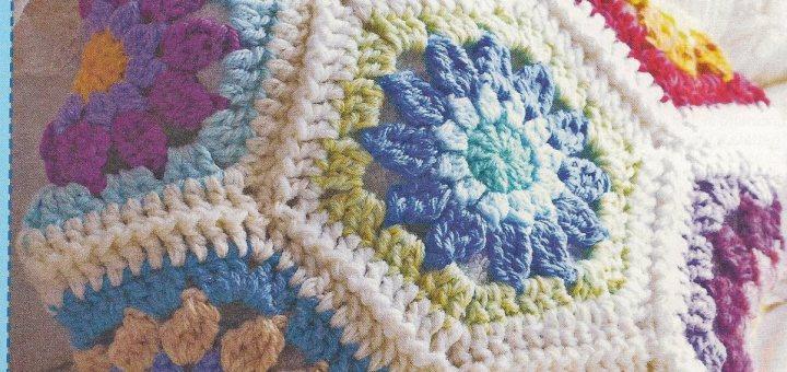 Almohadón crochet hexágonos