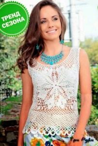 Blusa crochet motivo sin mangas