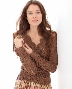 Esquema blusa crochet con mangas