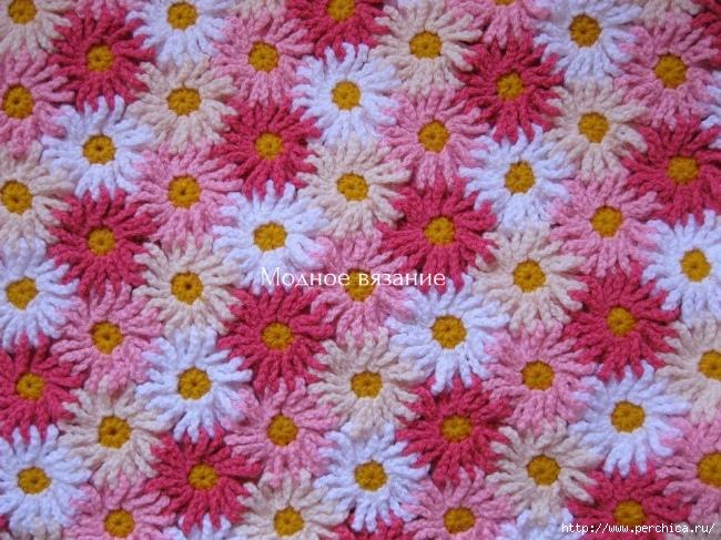 Manta crochet flores unidas