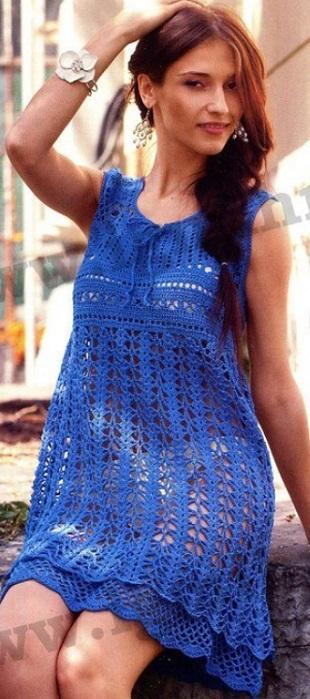 Vestido crochet ancho