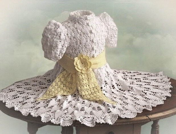 Vestido niña crochet botones