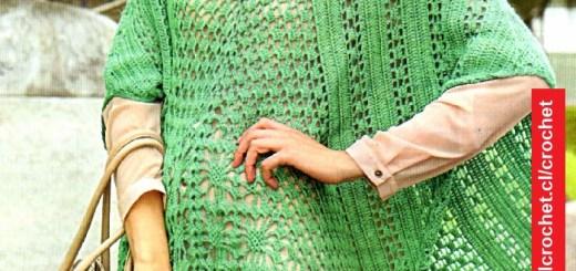 Poncho Crochet Calado Verde Agua