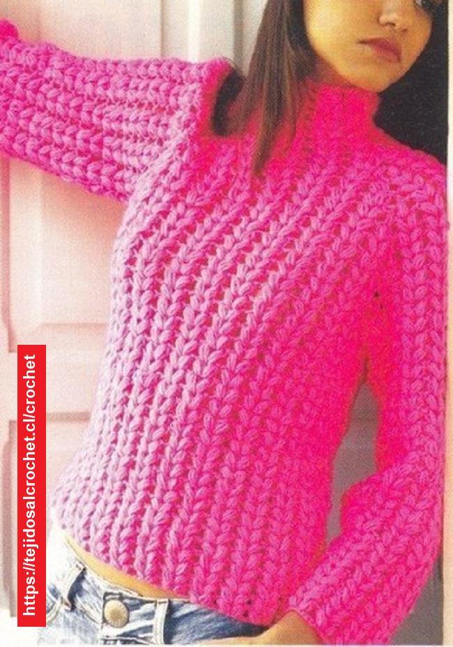 Suéter Raglan Crochet