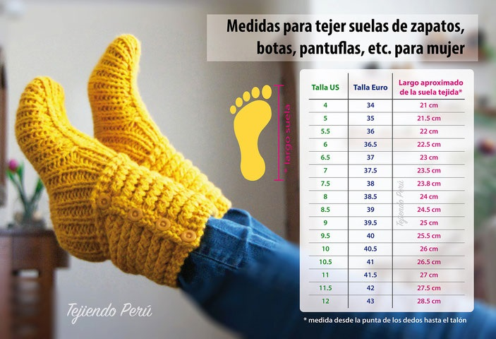 TTablas de Medida para tejidos en crochet zapatos dama