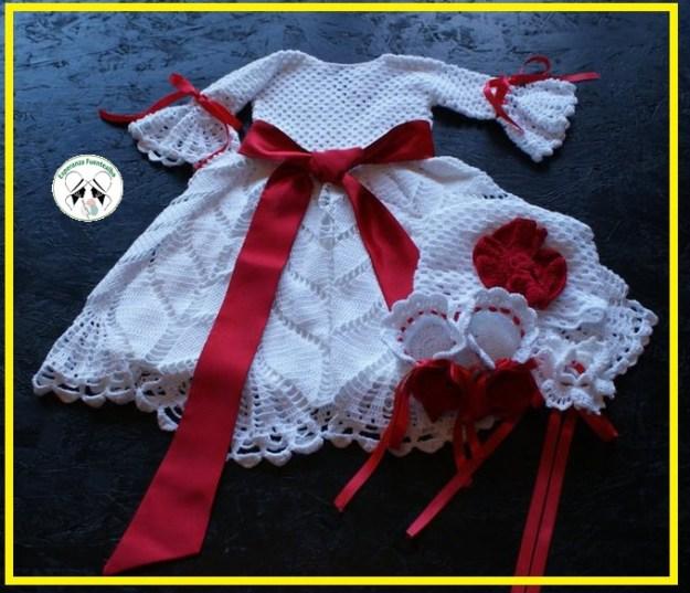 Ganchillo patrones fáciles. Vestido de lujo para las nenas