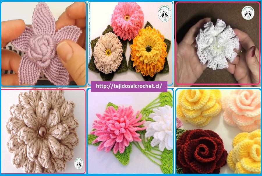 Patrones de flores tejidas. 6 increíbles diseños de flores tejidas ...