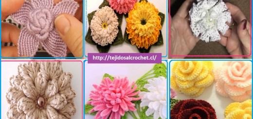Patrones de flores tejidas