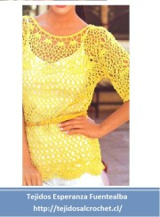Blusas tejidas a mano. Elegante blusa de crochet calada de lindo diseño