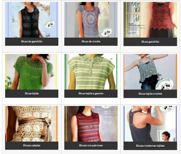 Blusas tejidas. Una selección de blusas con esquemas y patrones