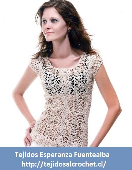 b74fa1432 Patrones de blusas tejidas. Un diseño de blusa tejida con gancho