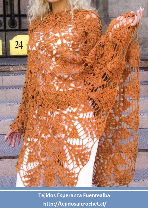 Poncho crochet. Increíble esquema de poncho tejido al crochet