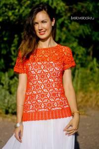 Esquema blusa crochet motivo