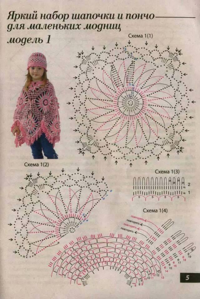 Patron poncho crochet niña1