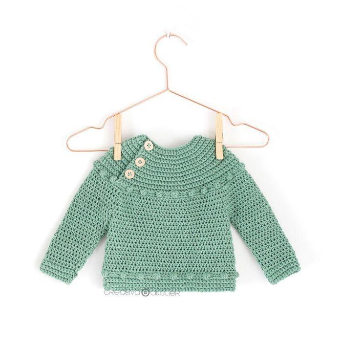 Patrón gratis jersey bebé crochet