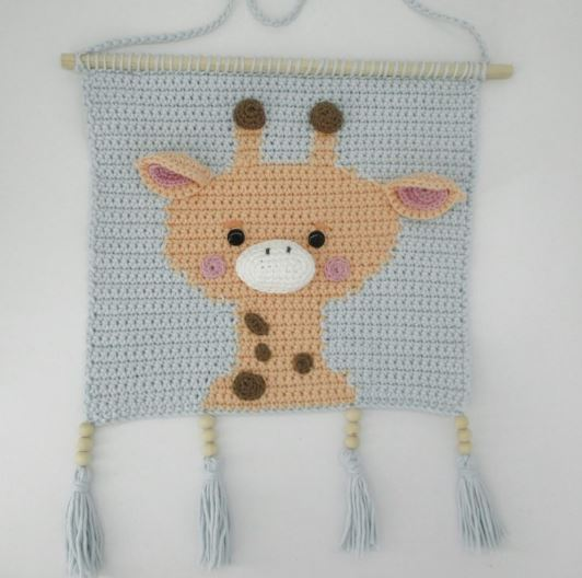 Tapiz cuarto bebé jirafa crochet
