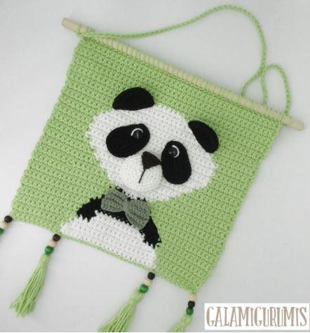 Tapiz cuarto bebé oso panda crochet