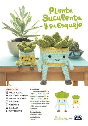 Patrón gratis planta suculenta y esqueje amigurumi crochet