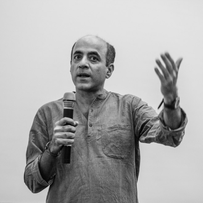 """Lalit Vachani answering a question after the screening of his film, """"The Boy in the Branch"""" which is is a documentary film on the indoctrination of young Hindu boys by the Hindu nationalist RSS produced in 1993."""