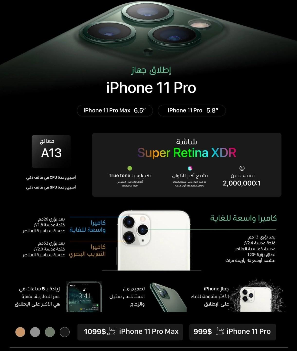 مواصفات و أسعار هواتف iPhone 11 Pro و iPhone 11 Pro Max