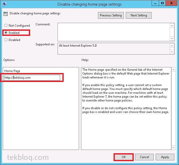 How To Set Internet Explorer Home Page Via Gpo Tekbloq