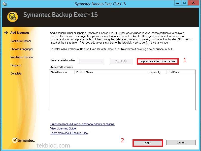 Install license Symantec Backup Exec 2015 | TekBloq