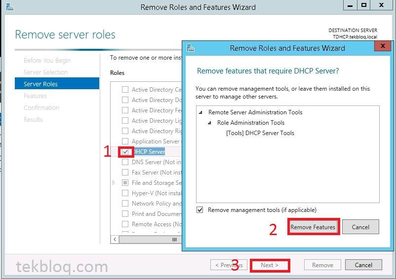 Remove DHCP server role on Windows Server 2012 R2 | TekBloq