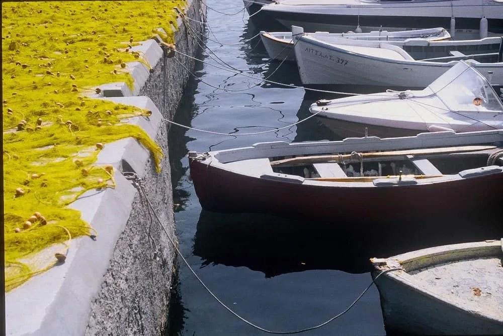 boats in Methana Greece, fishing nets, Mediterranean,