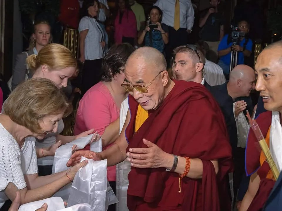 The Dalai Lama arrives at the Peabody Hotel, Memphis in preparation to receive the Freedom Award from the National Civil Rights Museum, 2009.